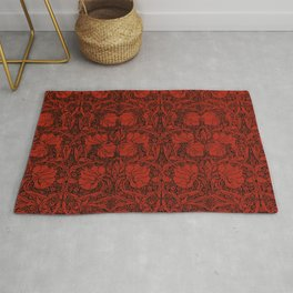 Red, art nouveau, beautiful,floral pattern, revamped, chic,elegant,modern,trendy,vintage,belle epoque, victorian, femme,flowers Rug