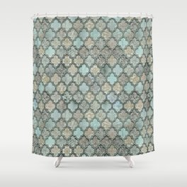Old Moroccan Tiles Pattern Teal Beige Distressed Style Shower Curtain