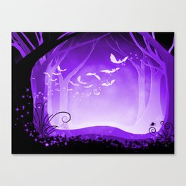 Dark Forest at Dawn in Amethyst Canvas Print