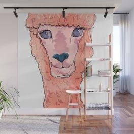 Pink Alpaca Original Illustration Wall Mural