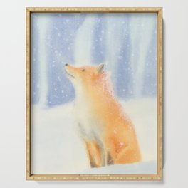 Fox in the snow Serving Tray