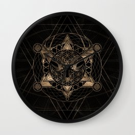 Deer in Sacred Geometry Composition - Black and Gold Wall Clock