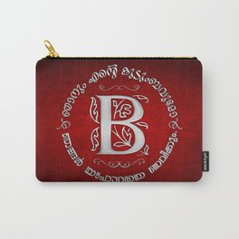 Joshua 24:15 - (Silver on Red) Monogram B Carry-All Pouch
