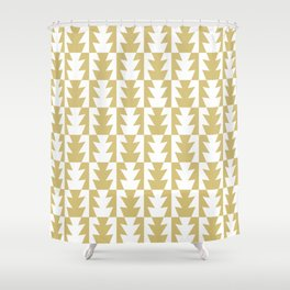 Art Deco Jagged Edge Pattern Gold Shower Curtain
