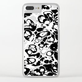 Black white gray ink paint spilled mess splashes platter effect Clear iPhone Case