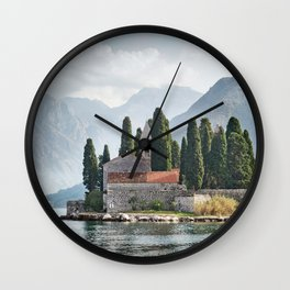 Montenegro Perast Kotor bay Mountains Fence Island Bay Houses Cities mountain Building Wall Clock