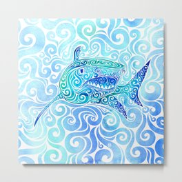 Swirly Shark Metal Print