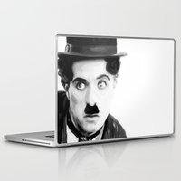 charlie chaplin Laptop & iPad Skins featuring Charlie Chaplin by Thousand Lines Ink