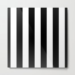 Midnight Black and White Vertical Cabana Tent Stripes Metal Print