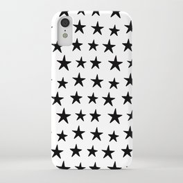 Star Pattern Black On White iPhone Case