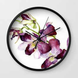 Radiant Orchids: Magenta Dendrobiums (Flipped Orientation) Wall Clock