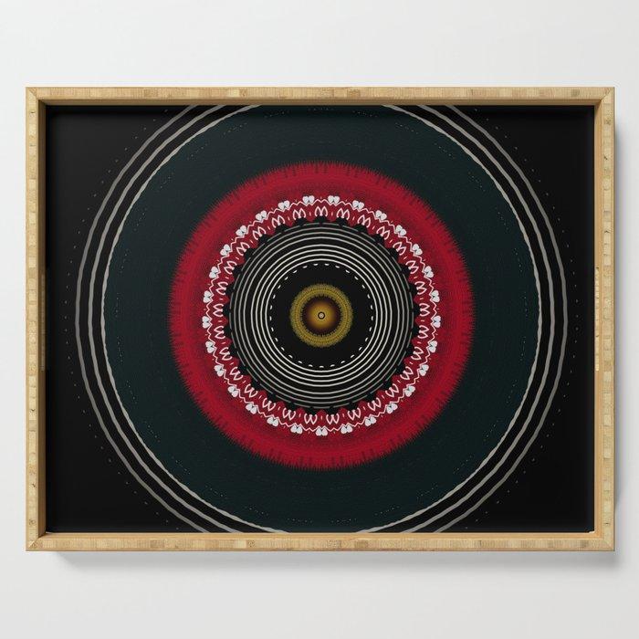 Modern Black White and Red Mandala Serving Tray