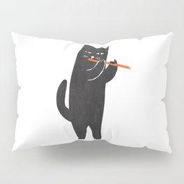Black cat with flute Pillow Sham