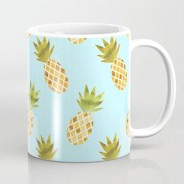 Blue Tropical Pineapple Pattern Coffee Mug