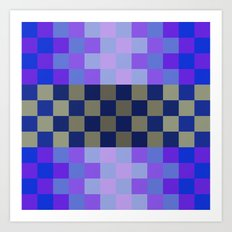 blue tiles, geometric design, blue square, oriental pattern, abstract design, gold, checkerboard art Art Print