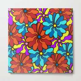 floral background. field of multi colored bright summer colors for the background Metal Print