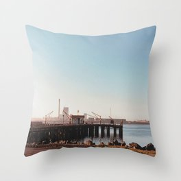 Dock With Mill-Film Camera Throw Pillow