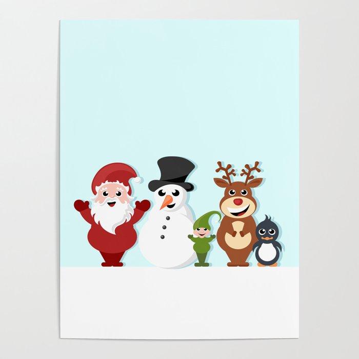 Christmas cartoon characters - Santa Claus, snowman, reindeer, elf and penguin Poster