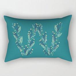 Turquoise flower alphabet W Rectangular Pillow