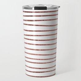 Chic elegant faux rose gold striped pattern Travel Mug