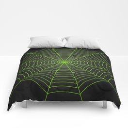 Neon green spider web Comforters