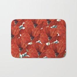 Vintage red orange poppy floral pattern Bath Mat