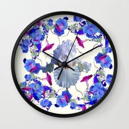 WHITE ART  BLUE MORNING GLORIES & WHITE IRIS Wall Clock