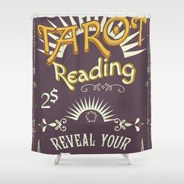 Tarot Reading vintage chalk poster Shower Curtain