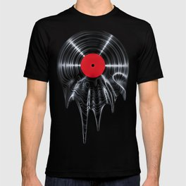 Melting vinyl / 3D render of vinyl record melting T-shirt