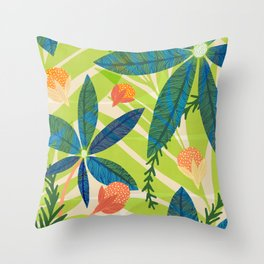 Tropical Star Flowers With Berries Throw Pillow