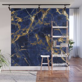 Blue Majestic Marble With 24-Karat Gold Hue Veins Wall Mural
