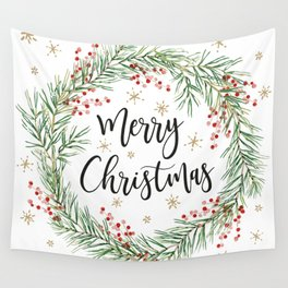 Merry Christmas wreath with red berries Wall Tapestry