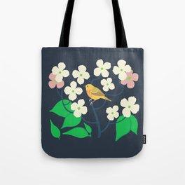 Yellow Warbler + Dogwood Tote Bag