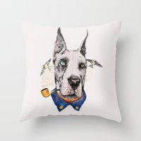 great dane Throw Pillows featuring Mr. Great Dane by dogooder