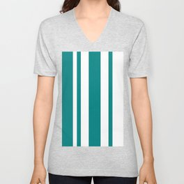 Mixed Vertical Stripes - White and Dark Cyan Unisex V-Neck
