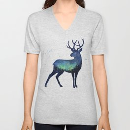 Galaxy Reindeer Silhouette with Northern Lights Unisex V-Neck