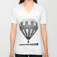 hot air balloon V-neck T-shirts featuring Hot Air Balloon by Rose Etiennette
