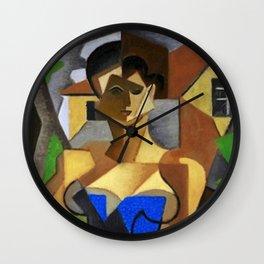 Femme assise, en robe bleue - Woman in a blue robe Female Form Portrait by Jean Metzinger Wall Clock