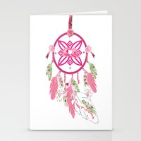 shabby chic Stationery Cards featuring Shabby Chic Dream Catcher by KarenHarveyCox