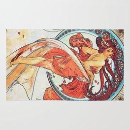 Alphonse Mucha Dance Art Nouveau Watercolor Painting Rug
