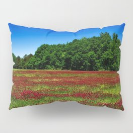 Picturesque crimson clover amid hidden meadow in the forest Pillow Sham