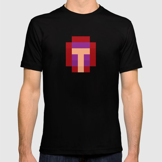 hero pixel purple red T-shirt