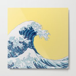 The Great Wave with Yellow Background Metal Print