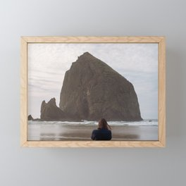Hiding Behind Haystack Rock - Film Photograph taken in Cannon Beach, Oregon Framed Mini Art Print