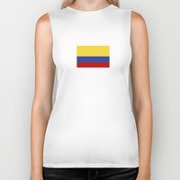 colombia Biker Tanks featuring colombia country flag by tony tudor