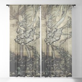 """Wendy Darling"" in Kensinton Gardens by Arthur Rackham Sheer Curtain"