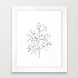 Minimal Line Art Magnolia Flowers Framed Art Print