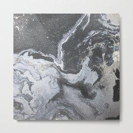 -Black and white acrylic marbling Metal Print