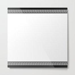 Greek Key - White Metal Print