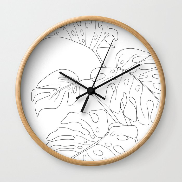 Line Art Monstera Leaves Wall Clock